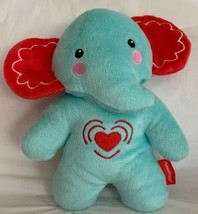 Fisher Price Plush Cuddle Elephant Musical Vibrating Baby Soother Blue Red Heart - $19.79