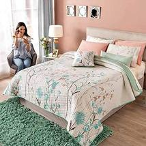White and Green Floral Reversible Comforter King Size Soft and Fresh 4PCS - $219.78
