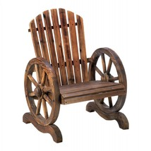 Old Country Wood Wagon Wheel Chair - $155.77