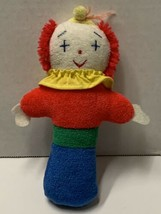 """Eden Toys Clown Rattle Doll Terry Cloth Plush Stuffed Baby Toy 7"""" Rare V... - $24.90"""