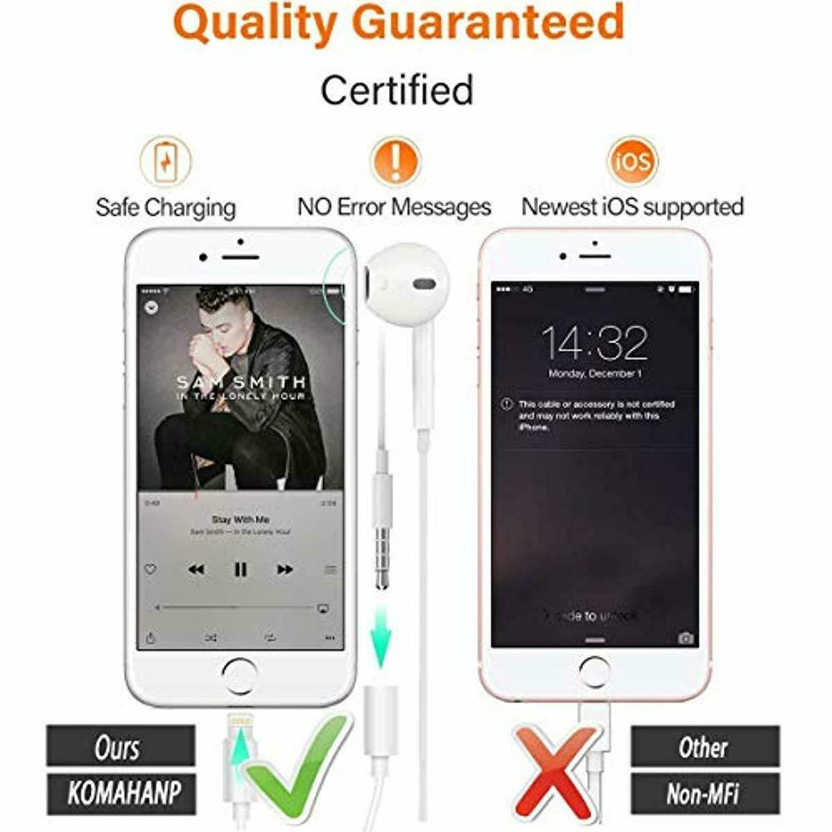KOMAHANP Headphone Earbuds Jack Adapter Cellphone Cable Earphones for IPhone