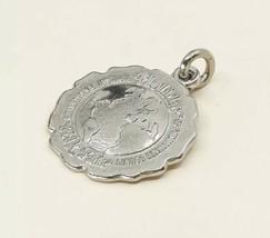 Vintage sterling silver handmade pendant, 925 Circle Planet Tag Embossed... - $12.20