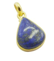 handsome Lapis Lazuli Gold Plated Blue Pendant Glass usually US - $5.63