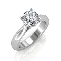0.30Ct Round Cut Diamond Soliraire Engagement Ring In 14K White Gold - $588.02