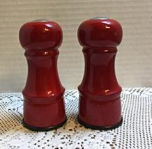Vintage Bright Red Painted Glass Salt & Pepper Set Farmhouse Kitchen  - $9.50