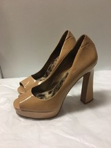 Sam Edelman Ella pumps size 9.5 Nude patent leather peep toe stilettos high heel - $22.76