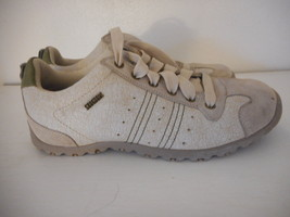 Skechers Sz 9 Womens Beige Athletic Shoes Sneakers Leather upper lace up - $29.69