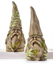 Set of 2 Garden Gnome Design Figurines Wood Carved Design w Textured Det... - $79.19