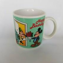 Walt Disney Mickey Mouse Coffee Mug Cup Minnie Happy Birthday Applause 1987 - $14.74
