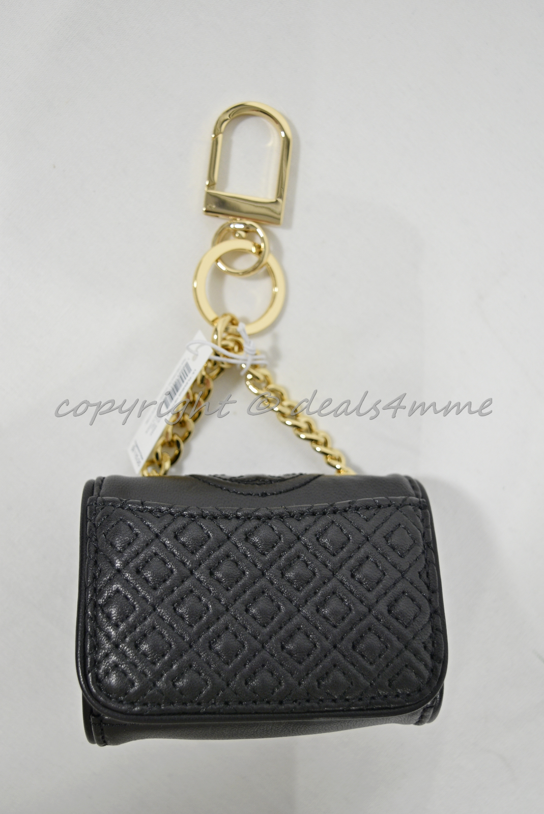 Tory Burch Leather Fleming Metallic Mini Key Fob / Bag Charm in Spark Gold/Black image 14