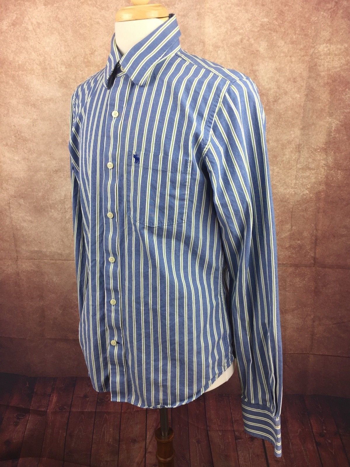 Abercrombie & Fitch Muscle Long Sleeve Button Down Shirt Blue Stripe Men's Large