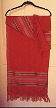 SOFT Woven Wool SCARF-18 x 51-Burnt Orange with turq., black, white, red... - $9.89