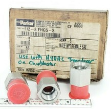 BOX OF 3 NEW PARKER 1/2-8 FHG5-S MALE NPT/FEMALE SAE FITTINGS image 1