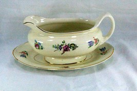 Household Institute Homer Laughlin Priscilla Gravy Boat With Under Plate... - $8.81