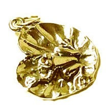 NICE New Gold plated over Genuine Sterling Silver lilly pad frog toad Jewelry Ch - $17.65