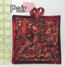 Pot Holders - Pair - Unique Burgundy Moths & Dragonflies - PHDR - $8.00