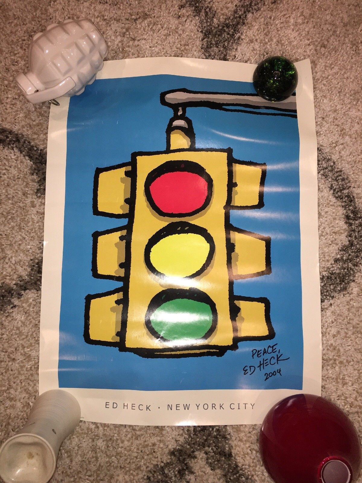 Ed Heck Traffic Light Poster Authentic Signed 2004 New York City Art Show