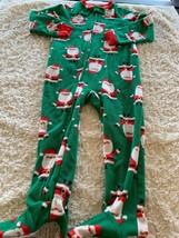 Child Of Mine Boys Green Red Santa Christmas Fleece Long Sleeve Pajamas 3T - $5.95
