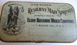 antique ELGIN WATCH MAIN SPRING TIN repair parts ORNATE - $124.95