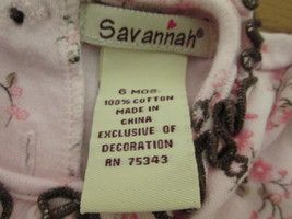 Pretty pink infant shirt w/ floral accents Size 6 mo. by Savannah  MCHE306 - $5.70