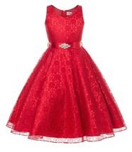 Flower Girl Dress V-Neck Lace Rhinestone Brooch Red GG 3511 - $34.64+