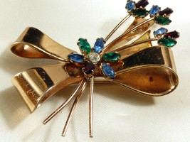 VINTAGE CORO GOLD PLATE STERLING SILVER MULTICOLOR STONES FLOWER BOW PIN... - $74.25