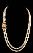 """LARGE designer pearl necklace / Richelieu enamel eagle  / 28""""  wedding jewelry / image 2"""
