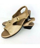 Suntimer Tripad Sandal 7 M Metallic Bronze Open Toe Block Heel Pebble Le... - $49.49