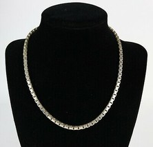 Vintage .925 Sterling Silver Signed FAS Heavy Chunky Box Chain Necklace ... - $35.99