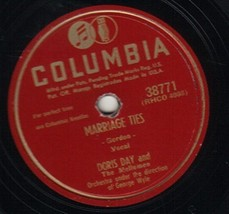 Marriage Ties / Hoop-Dee-Doo 78 RPM [Vinyl] Doris Day and The Mellomen - $32.71