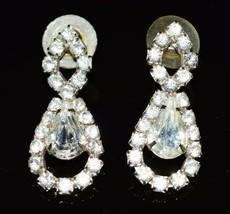 Vintage Styled Clear Rhinestone Dangle Post Earrings - $29.70