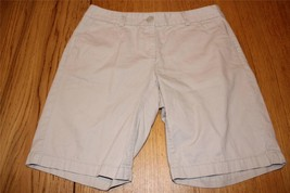 W8278 Womens ANN TAYLOR LOFT Tan Khaki Original BERMUDA SHORTS Cotton 4 - $14.50