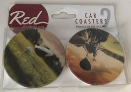 Red by P. Graham Dunn Car Coasters Golf Scenes 2 pk NEW - $16.25