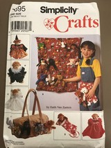 New Vtg Simplicity Crafts Pattern 7695 Tote Organizer Apron Clothes Beanie Baby - $9.89