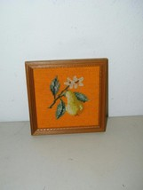 Vintage Pear Framed Needlepoint Wool 7 Inches 14875 Fruit - $11.74