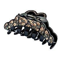 Elegant Womens Rhinestone Epoxy Enamel Hair Claw Hair Clip (Black)