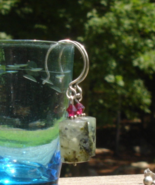 Natural Prehnite w Tourmaline Needles Dangle Earrings, Sterling Silver - $20.00
