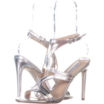 Steve Madden Sidney Ankle Strap Heeled Sandals, Silver 055, Silver, 8.5 US - $37.43