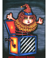 Evil clown demonic toy original art print jack in the box goth sci fi  h... - $7.99