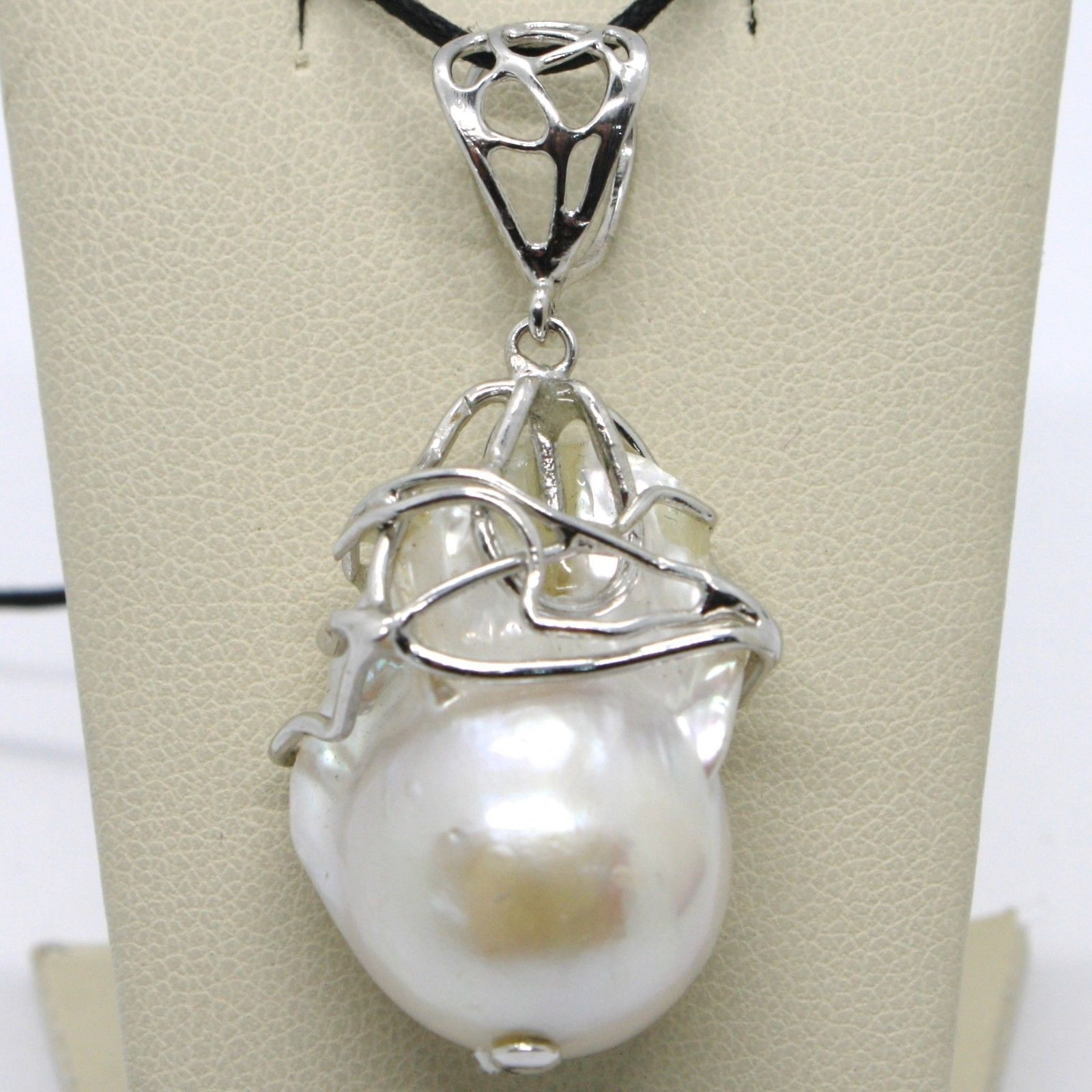 925 STERLING SILVER PENDANT BEAUTIFUL BIG BAROQUE PEARL FINELY WORKED ITALY MADE