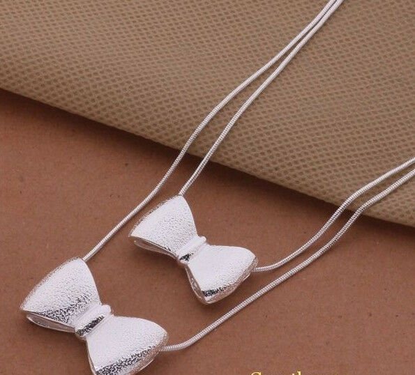 Primary image for Double Bow Pendant Necklace 925 Sterling Silver NEW
