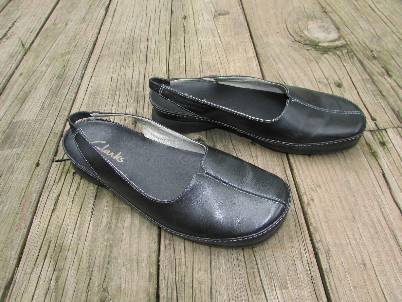 e6bd025908f5a Clarks Black Leather Loafer Slingback 1