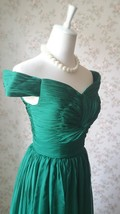 Emerald green Retro Off Shoulder Long Prom Dress Womens Green Maxi Evening Dress image 4