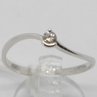 WHITE GOLD RING 750 18K, SOLITAIRE WITH DIAMOND CARAT 0.07, WAVY, ITALY