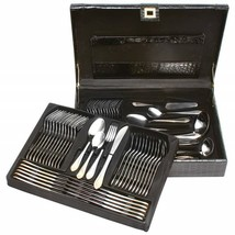 72pc Stainless Steel Flatware and Hostess Set with Gold Trim New - $84.13