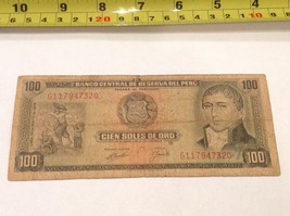 100 Soles Bill Bank Note Peru 1974 - $9.42