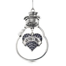 Inspired Silver Air Force Brat Pave Heart Snowman Holiday Christmas Tree... - $14.69