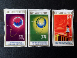Stamps Albania R.P.E. Shqiperis 1971 1st Chinese satellite 3 Stamps - $15.00