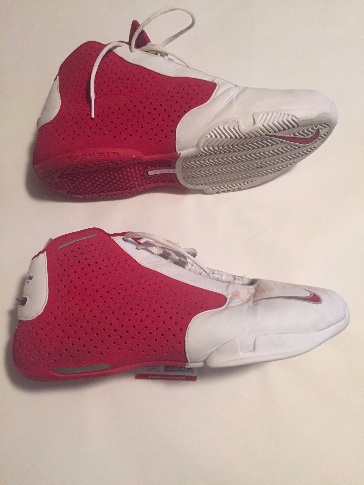 Bostjan Nachbar Autographed Houston Rockets Game Used Shoes 2 AUTO'S PSA COA