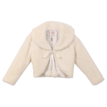 IVORY Super Soft Fur Coat with Quilted Lining and Satin Ribbon Front Closure - $29.95